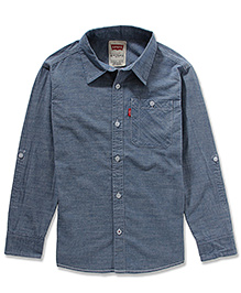 LEVIS Solid Cunningham One Pocket Full Sleeves Shirt Blue