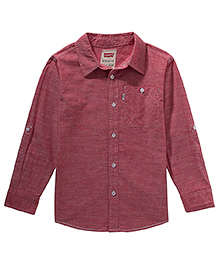 LEVIS Solid Cunningham One Pocket Full Sleeves Shirt Maroon
