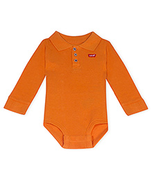 LEVIS Full Sleeves Edison Polo Creeper Onesie Orange