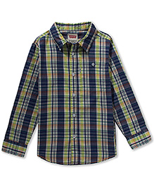 LEVIS Full Sleeves Small Checkered Cunningham One Pocket Shirt Navy Blue