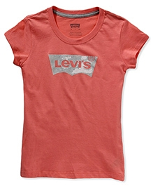 LEVIS Short Sleeves Batwing Screen Top - Peach