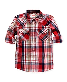 LEVIS Full Sleeves Check Printed Boys Shirt - Red