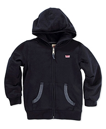 LEVIS Full Sleeves Joey Jogger Zip Front Hooded Sweatshirt -  Navy Blue