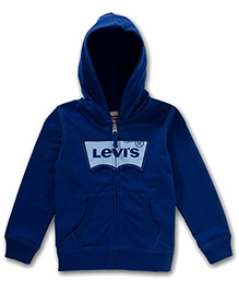 LEVIS Full Sleeves Keller Zip Front Hoodie Blue