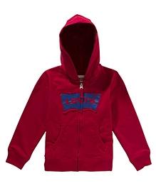 LEVIS Full Sleeves Keller Zip Front Hoodie Red
