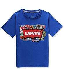 LEVIS Half Sleeves Batwing Logo SS Tee Blue
