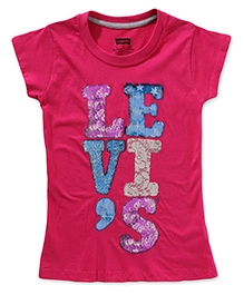 LEVIS Short Sleeves Patchwork Logo Screen Print T-Shirt - Pink