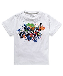 LEVIS Short Sleeves Paint Splash Tee - White