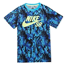 Nike A/O Printed Half Sleeves T-Shirt - Blue