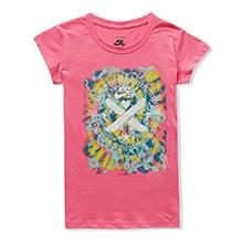 Nike Short Sleeves Tie Dye Crest Print T-Shirt - Pink