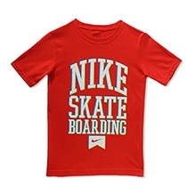 Nike Half Sleeves 4D Skate Boarding Print T-Shirt - Red