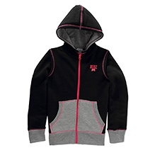Nike Full Sleeves Color Block Fleece Hooded Jacket - Black