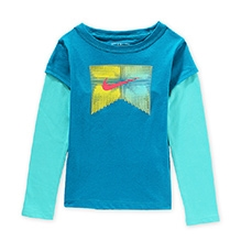 Nike Pin and Needle 2-Fer Full Sleeves T-Shirt - Blue