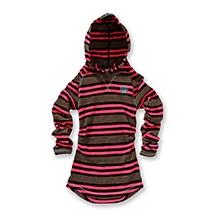 Nike Striped Waffle Tunic Hooded Jacket - Pink and Black
