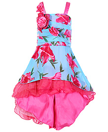 Little Kangaroos Singlet Flower Print Frock - Blue