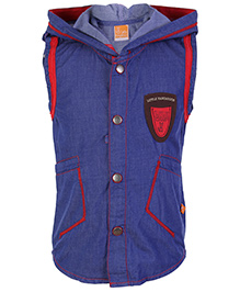 Little Kangaroos Sleeveless  Hooded Jacket - Blue