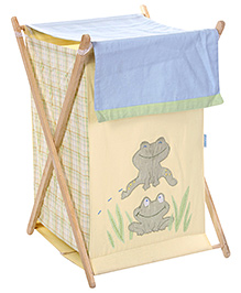 Abracadabra Frog Print Laundry Hamper - Blue and Beige