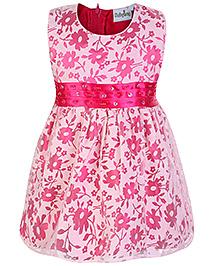 Babyhug Sleeveless Flower Printed Frock - Pink