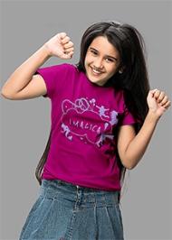 Imagica Half Sleeves T-Shirt Magenta - Silhouette Logo