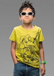 Imagica Half Sleeves T-Shirt Lime - Tubby Outline Print
