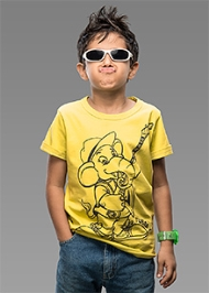 Imagica Half Sleeves T-Shirt Yellow - Tubby Outline Print