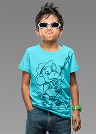 Imagica Half Sleeves T-Shirt Sky Blue - Tubby Outline Print