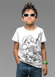 Imagica Half Sleeves T-Shirt White - Tubby Outline Print