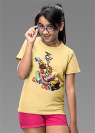 Imagica Half Sleeves Printed T-Shirt Yellow
