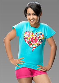 Imagica Half Sleeves Heart Print T-Shirt - Sky Blue