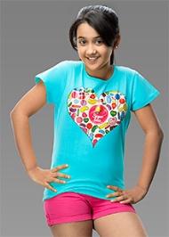 Imagica Half Sleeves Heart Print T-Shirt - Sky Blue