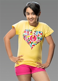 Imagica Half Sleeves Heart Print T-Shirt - Yellow