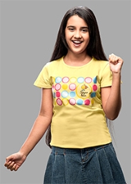 Imagica Crew Neck T-Shirts Sugarbuzz Circles - Yellow