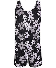 Bosky Sleeveless Legging Style Swimwear Flower Print - Black