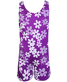 Bosky Sleeveless Legging Style Swimwear Flower Print - Purple