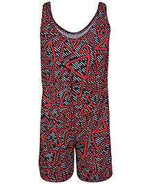 Bosky Sleeveless Legging Style Swimwear Lining Print - Red And Black