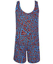 Bosky Sleeveless Legging Style Swimwear Lining Print - Blue And Brown
