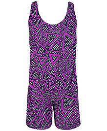 Bosky Sleeveless Legging Style Swimwear Lining Print - Black And Purple