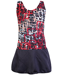 Bosky Sleeveless Frock Style Swimwear Line Print - Red And Black