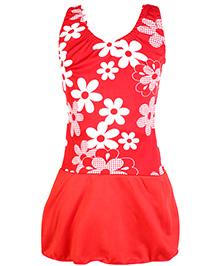 Bosky Sleeveless Frock Style Swimwear Flower Print - Red