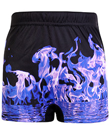 Bosky Swimwear Smock Print Swimming Trunk - Black And Purple
