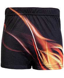 Bosky Swimwear Fire Print Swimming Trunk - Black And Orange