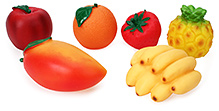 Speedage Fruit Family PVC Fruits - 6 Fruits - Play Fruits Made Of Non-toxic Material