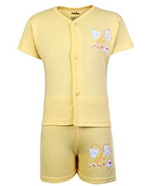 Babyhug Half Sleeves Front Open Night Suit