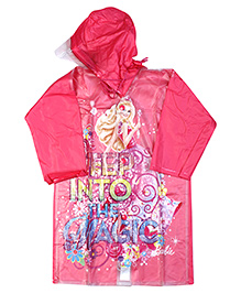 Barbie Full Sleeves Hooded Raincoat - Pink