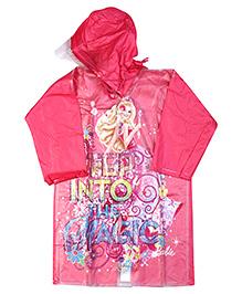 Barbie Full Sleeves Hooded Raincoat - Pink