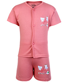 Babyhug Half Sleeves Front Open T-Shirt And Shorts Set