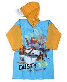 Disney Planes Full Sleeves Hooded Raincoat - Aqua Blue