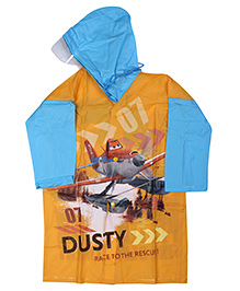 Disney Planes Full Sleeves Hooded Raincoat - Yellow
