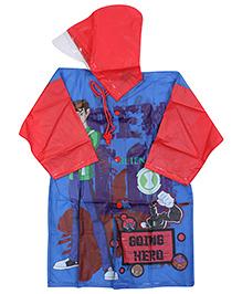 Ben 10 Full Sleeves Hooded Raincoat - Dark Blue