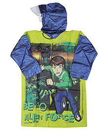 Ben 10 Full Sleeves Raincoat - Light Green